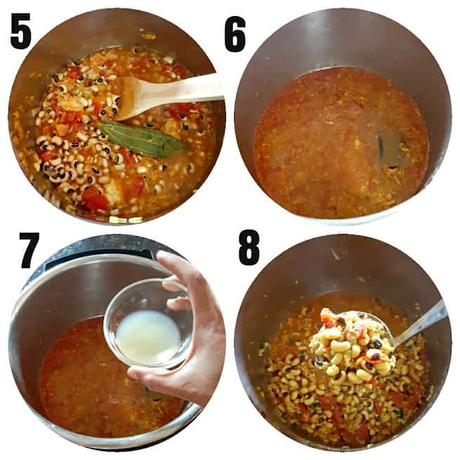 Second process step collage showing the step by step instructions to make the curry recipe.