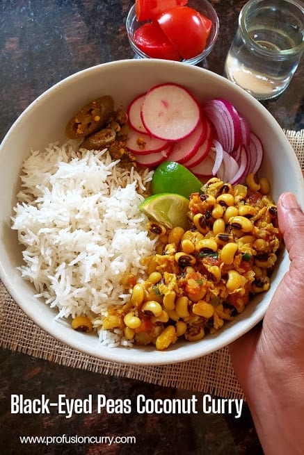 Pinterest image for black-eyed peas and coconut curry recipe