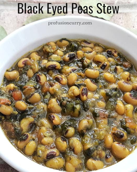 Black Eyed peas and spinach cooked in Instant Pot to make ultra delicious stew