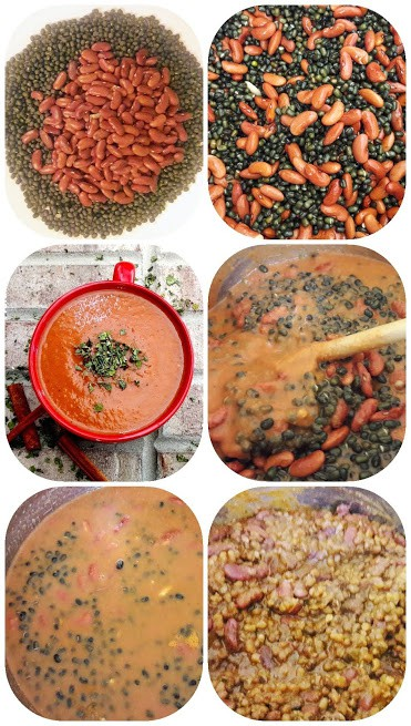 6 step process shot collage showing steps involved in making Instant Pot Dal Makhani