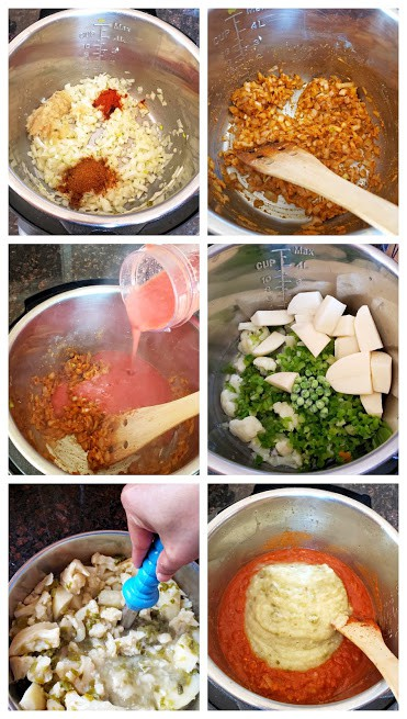 Process step collage showing steps involved in making Instantpot Pav bhaji