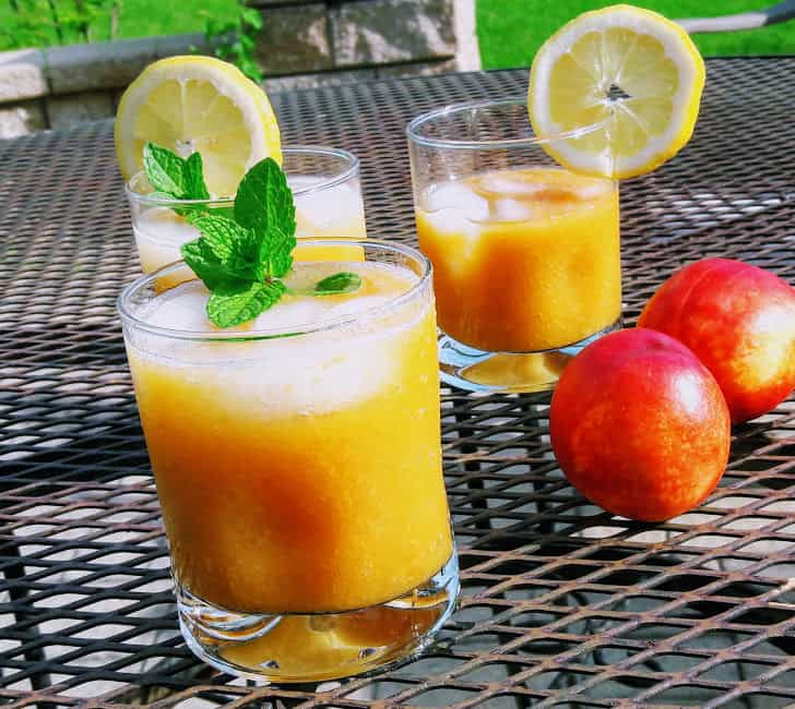 Peach Panna Drink served in two glasses