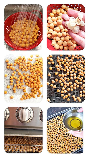 Process step collage showing steps involved in making this guilt free snack recipe in the air fryer or the oven.