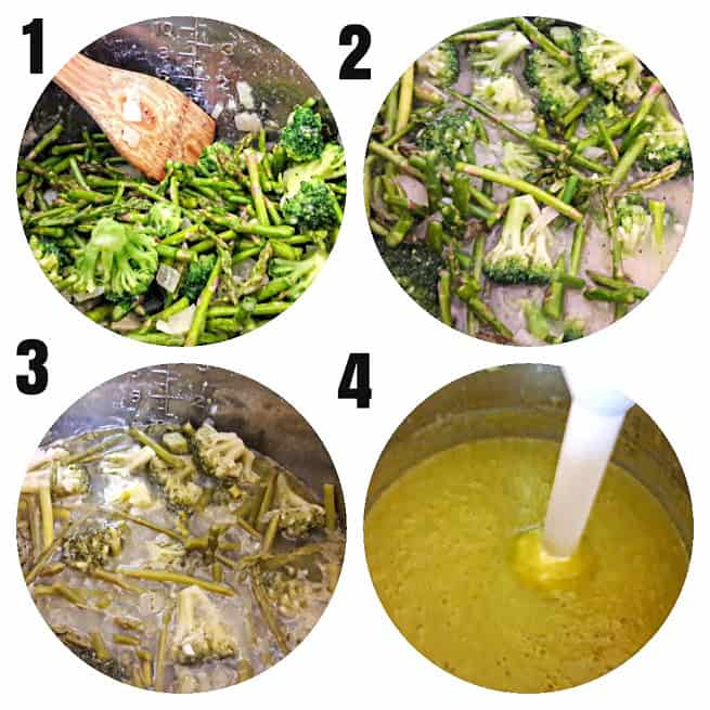 4 step process collage showing steps involved in making Instantpot Asparagus Broccoli Soup.
