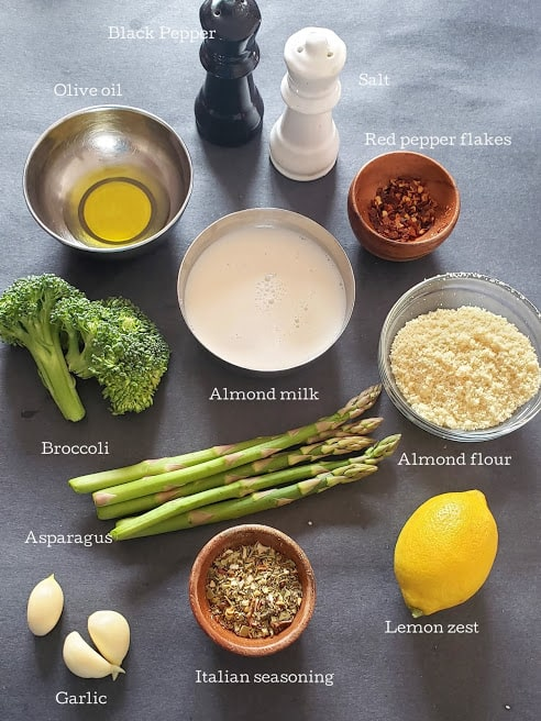 Ingredients used in making this creamy vegan soup.