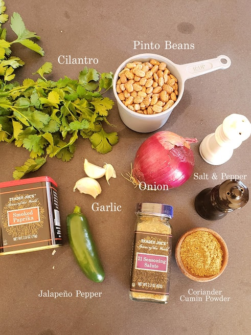 Ingredients used in making this Vegan Refried Beans Recipe.