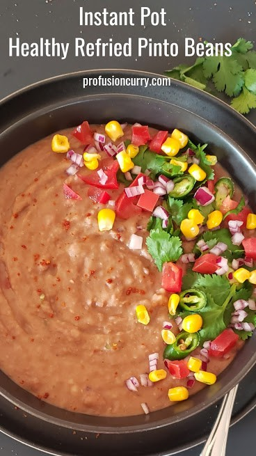 Pinterest image with text overlay for homemade refried pinto bean recipe.