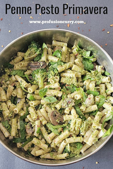 Pinterest image with text overlay for the pesto pasta recipe.