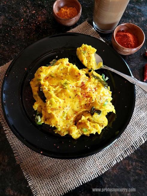 breakfast serving with golden yellow rice buttermilk spicy porridge