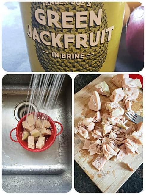 Preparing the jackfruit to make the curry.