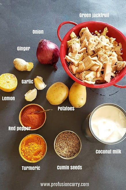 Ingredients used in making this Indian Coconut curry recipe.