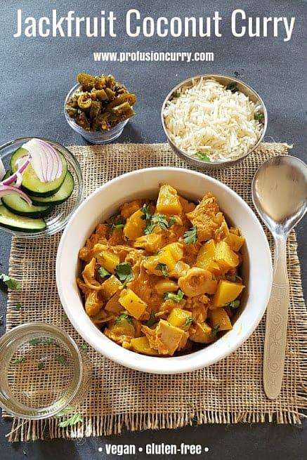 Pinterest image for Jackfruit Coconut Curry also known as Kathal ki Subzi