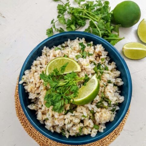 Overhead shot of serving of Cilantro Lime Brown Rice.