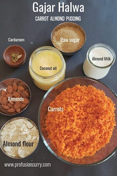 Ingredients used in making vegan gajar halwa.