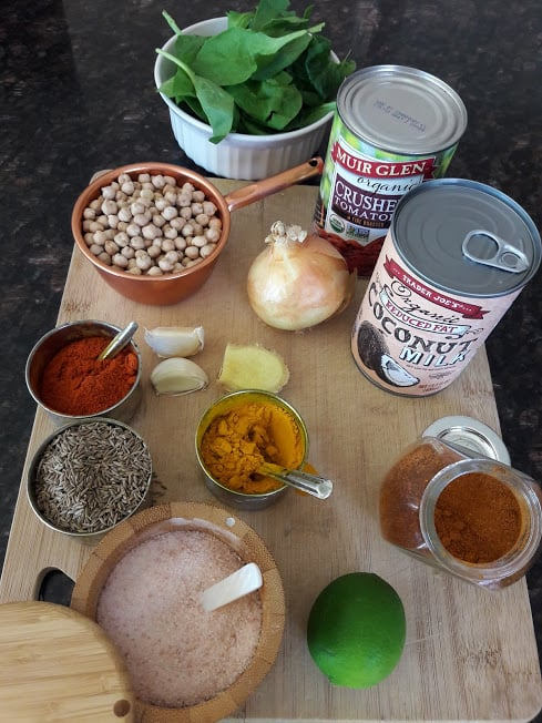 Ingredients used in making pantry staple curry.