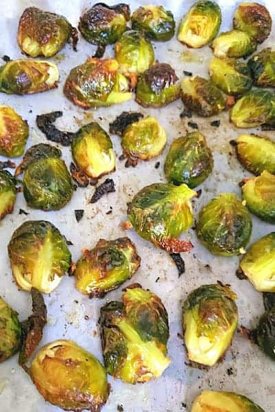 Brussels sprouts made in oven baking tray.