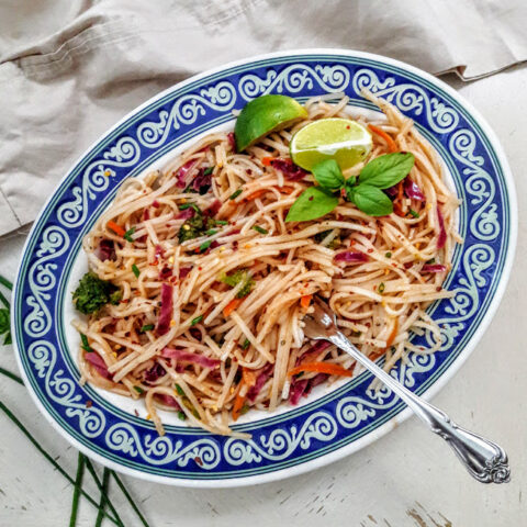 Rice Noodles with Rainbow Veggies Stir Fry served with a fork.