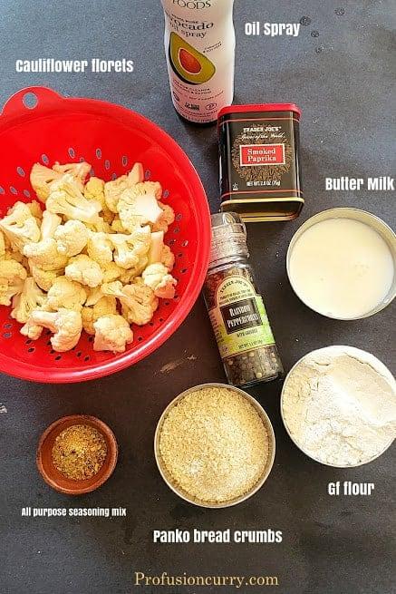 Ingredients needed to make this Bang Bang Cauliflower recipe.