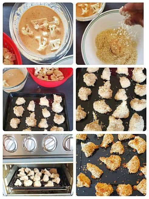 Process step collage showing important six steps involved in making the air fryer appetizer recipe of Bang Bang Skinny Cauliflower Nuggets.