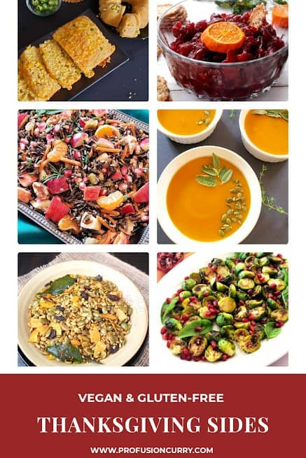 Thanksgiving Side dishes from Profusioncurry arranged in picture collage.