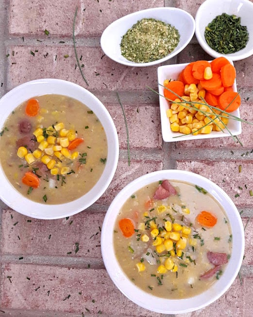 2 bowls full of Corn Chowder