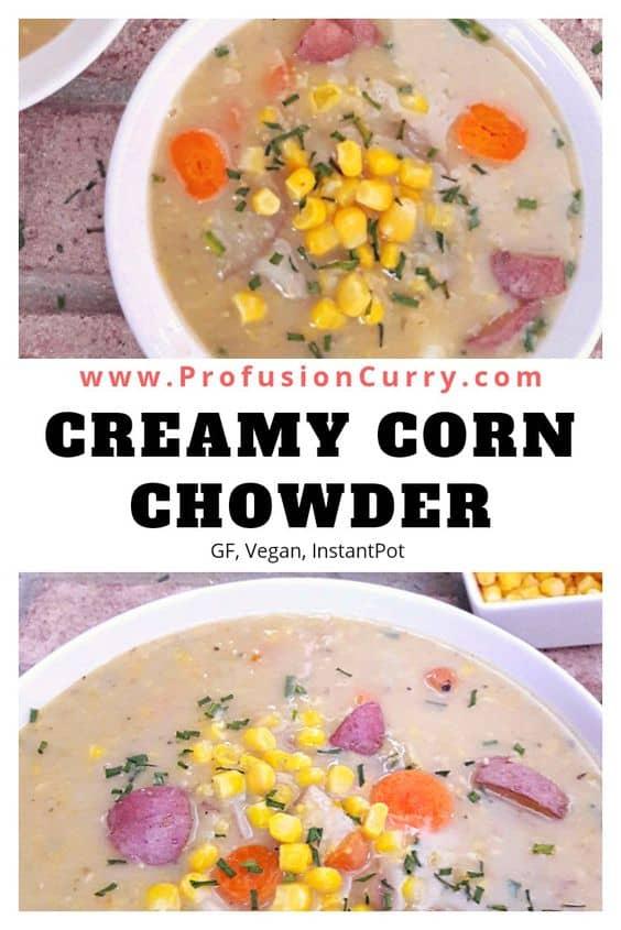 Creamy Vegan Corn Chowder-InstantPot