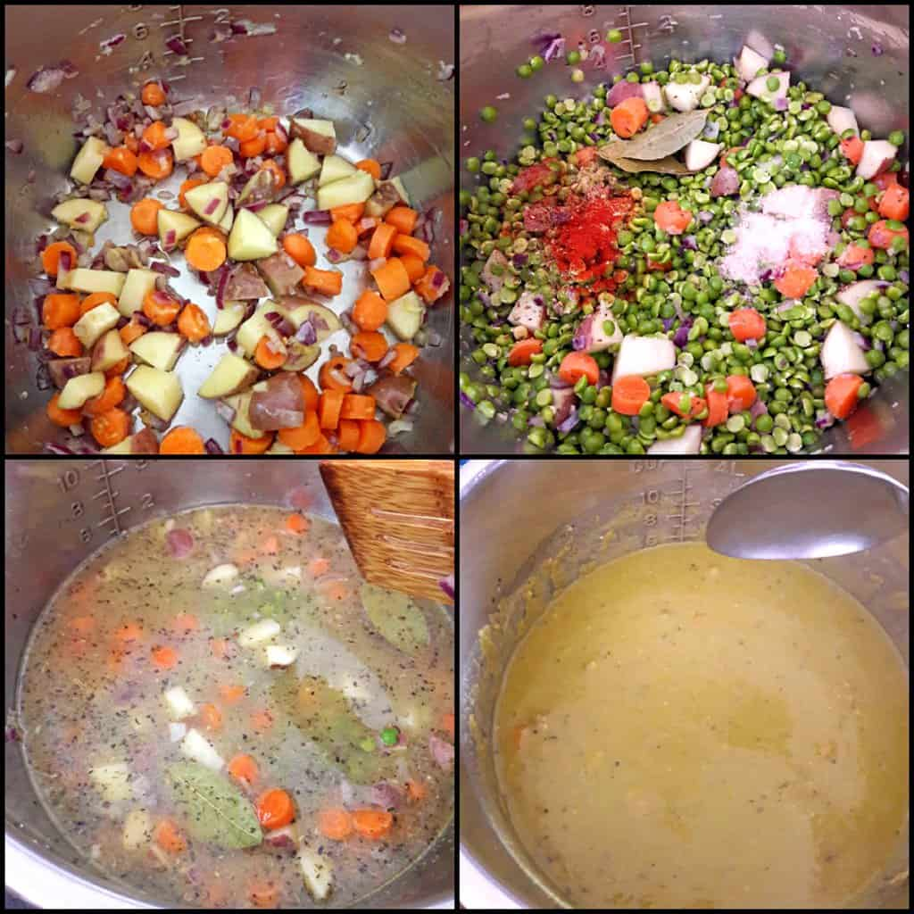 Process step collage showing four steps involved in making Spilt Pea Soup in Instant Pot.