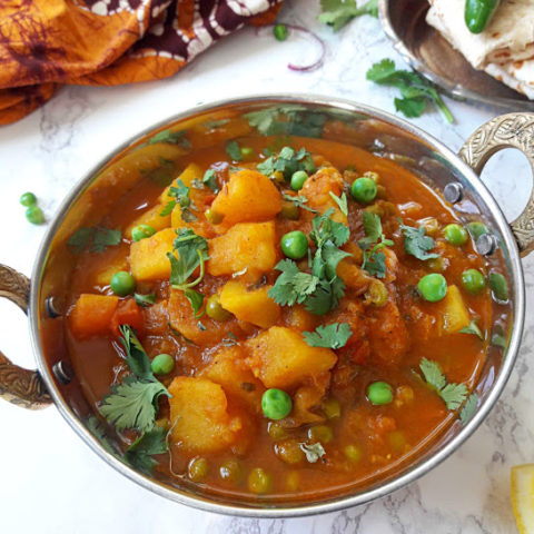 Aloo Matar -Potato and Peas Curry serving