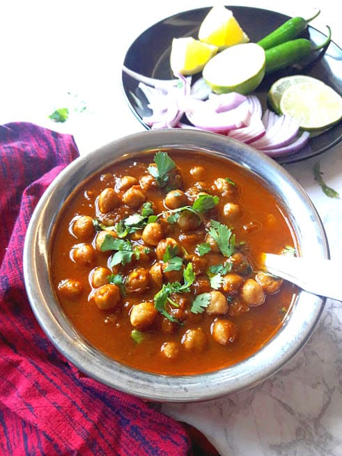 Chana Masala-Punjabi Chole-Indian Chickpea Curry in copper serving bowl