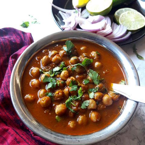Chana Masala -Punjabi CHole-Indian Chickpea Curry in copper serving bowl