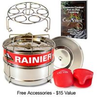 RAINIER Stackable Pressure Cooker Steamer Insert Pans Fits Instant Pot 6/8 Qt Models | Heavy Duty Food-Grade Stainless Steel | Accessories Include - 2 Lids, Egg Trivet, Oven Mitts, Easy-Lift Handle