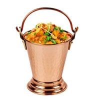 Aheli Indian Copper Gravy Serveware Bucket for Serving Dal and Curry Dishes Tableware 5 inch Diameter
