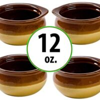 Porcelain Onion Soup Crock Bowl, Healthy Portion Size, 12 Ounce, Set of 4 (Brown)