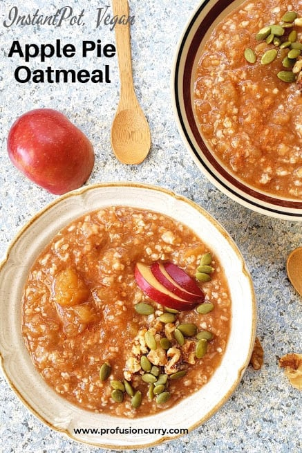 Instantpot Apple Pie Oatmeal served in the two bowls with garnishes. This image is with texts for Pinterest.