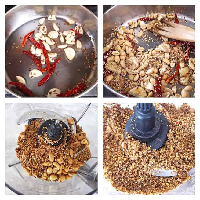 Process shots describing four main steps in making Flaxseed Garlic Chutney Recipe.