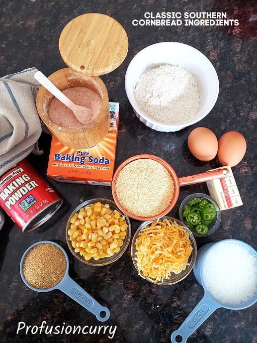 Ingredients needed to make classic cornbread displayed.
