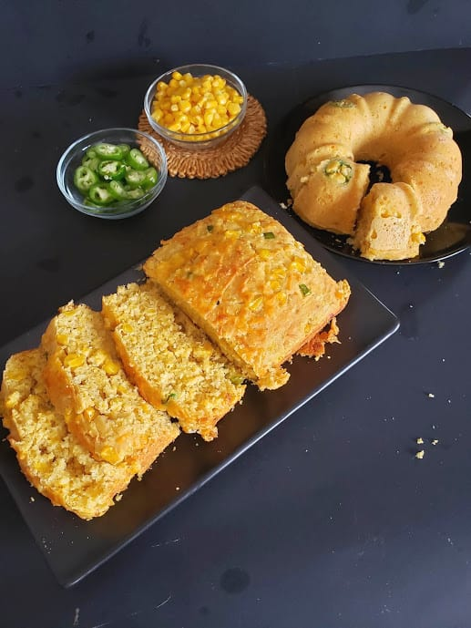 Classic and glutenfree vegan cornbread displayed together.