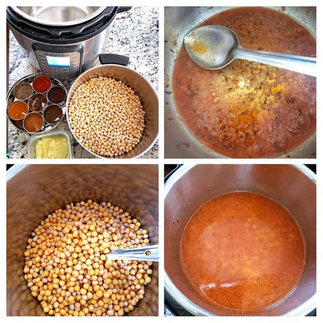 step by step collage showing steps in making Ragda -white peas curry in Instantpot.