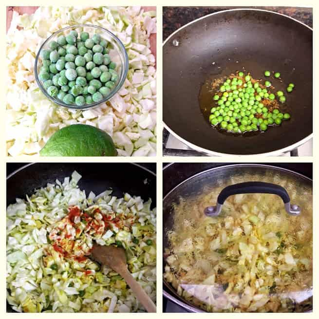 Process shot collage showing steps and ingredients needed to make Turmeric Cabbage Stir fry recipe.