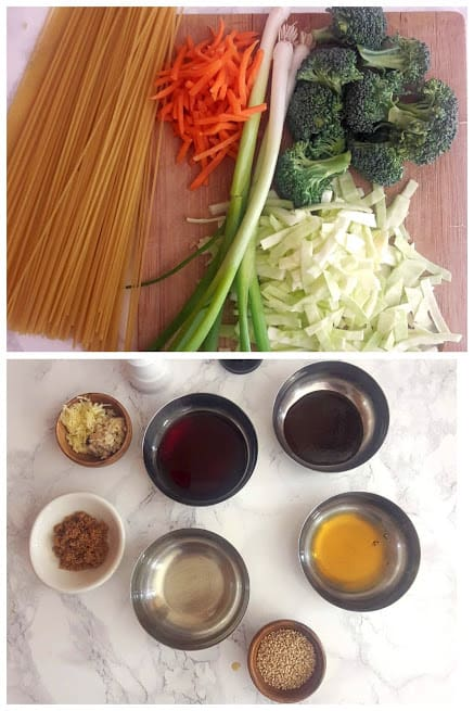 Ingrediets needed to make vegetable lo mein noodles displayed on the countertop. This easy 20 minute profusioncurry recipe can be made in Instantpot or Stove top.