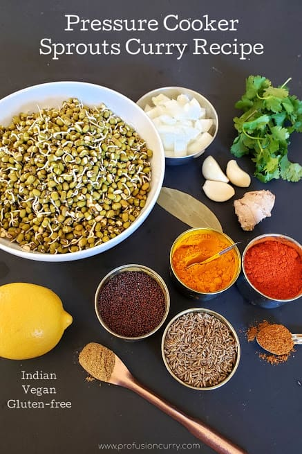 display of ingredients used in making Sprouts Curry.