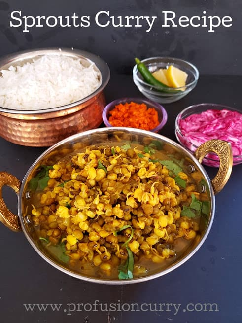 Pinterest image of Sprouts Curry recipe. This delicious Indian curry pairs well with steamed rice, raita and pickle.