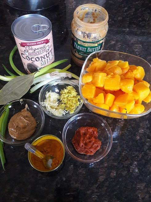 Ingredient display of Thai Pumpkin Peanut Curry
