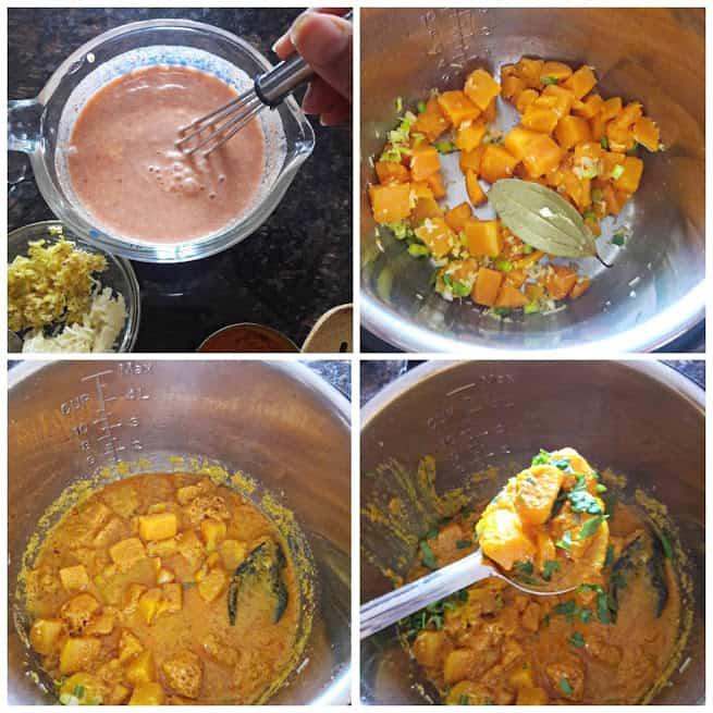 Process shot collage to make InstantPot Thai Pumpkin Peanut Curry
