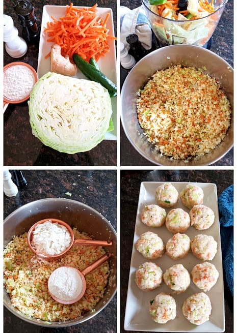 Process steps collage displaying vegetable manchurian recipe.