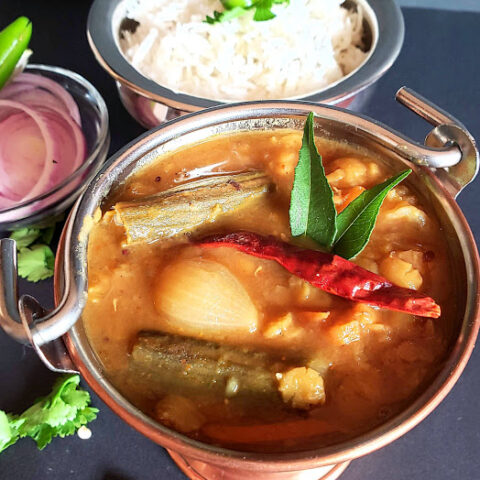 Showing the close up view of vegetable Sambar . This thick and delicious stew pairs well with steamed rice.