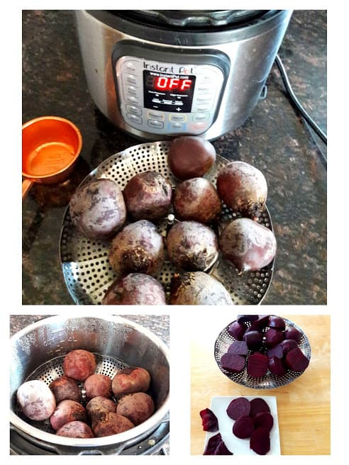 Image collage showing steps in cooking beets in Instantpot.