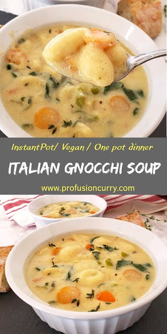 Pinterest image for Italian Gnocchi and vegetable Soup.