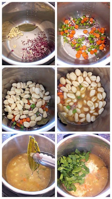 Process shot collage of six images making the Instantpot Gnocchi Soup.