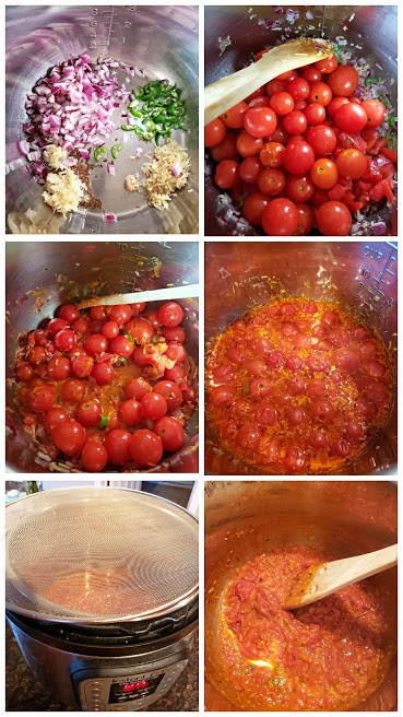 process shot collage to show steps involved in making Instantpot Tomato Chutney Recipe.